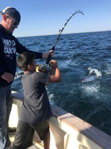 Father and Son Tuna Fishing on Tuna Hunter